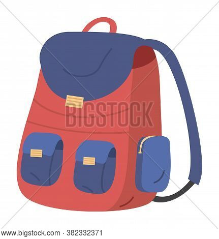 Illustration Of Red And Blue School Bag On A White Background. Kids Backpack With Education Equipmen