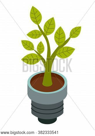 Green Energy Icon With Abstract Plant Bulb Templates. Green Concept, Safe Idea. Eco-friendly Concept