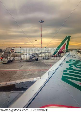 Milan, Ita - January 21, 2020: Alitalia Airplanes In Linate International Airport Apron