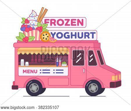 Frozen yoghurt van bar - isolated illustration. Pink street food truck of yogurt ice cream. Mobile bar of low calorie desserts in car