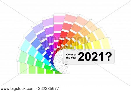 Choice Trend Color Of The Year 2021 Concept, Fanned Colour Palette Sample Swatch Book Guide, Light A