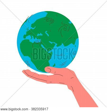 Earth Globe In A Hand. Vector Concept Illustration Of Blue And Green Earth Planet Globe In A Humans