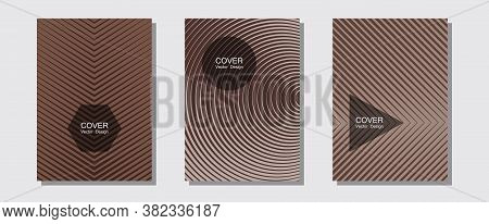 Abstract Shapes Of Multiple Lines Halftone Patterns. Elegant Patchy Mockups. Halftone Lines Music Po