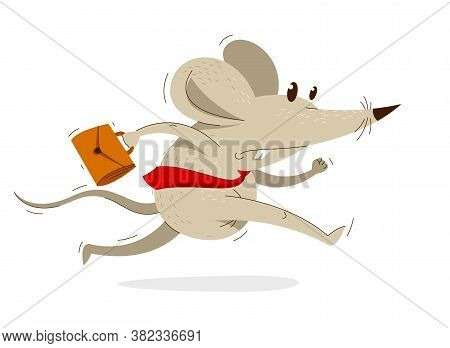 Funny Cartoon Mouse With Tie And Case Like A Businessman Runs Fast In A Rush Vector Illustration, Hu