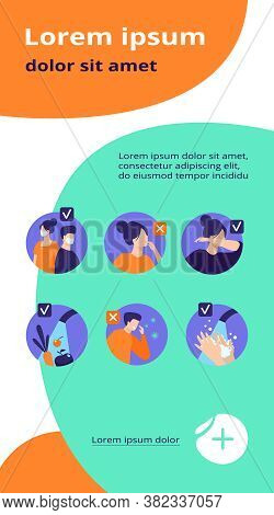 Protection From Coronavirus Tips. Safety List For Prevention Spreading, Avoidance People With Flu Sy
