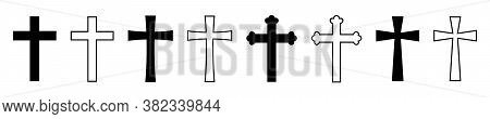 Cross Set Vector Illustrations On White Background. Christian Cross Collection. Cross Silhouette. Ch