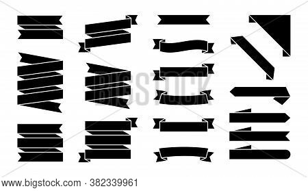 Set Of Black Ribbons Banners Isolated On White Background. Illustration Set Of Black Tape. Collectio
