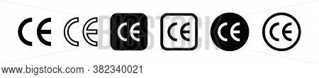 Ce Mark Icon Set. Ce Symbol Isolated On White Background. European Conformity Certification Mark. Ve