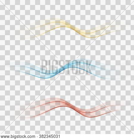 Abstract Colorful Lines Divider Collection Of Three Beautiful Gradient Speed Swoosh Waves. Contempor