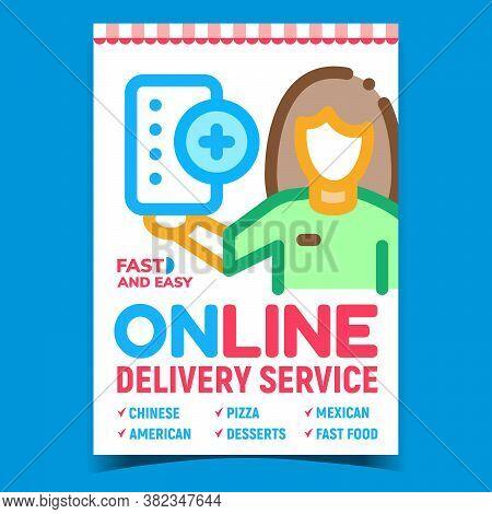 Online Delivery Service Advertising Poster Vector. Delivering Service Client On Promotional Banner.