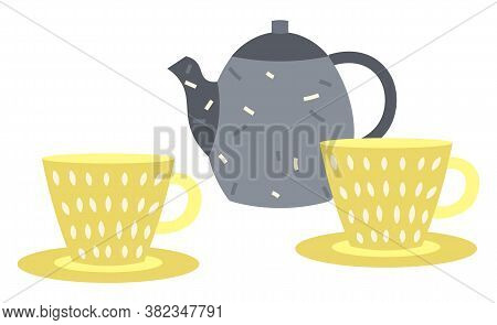 Teapot Vector, Isolated Cup And Mugs Flat Style Tea Pot With Mugs Decorated With Decorative Elements