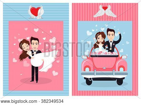 Newlywed Couple On Wedding Day Vector, Man And Woman Bride And Groom Celebrating Special Event, Peop