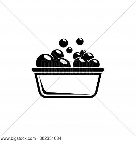 Bowl Or Basin For Washing With Soap Bubbles. Flat Vector Icon Illustration. Simple Black Symbol On W
