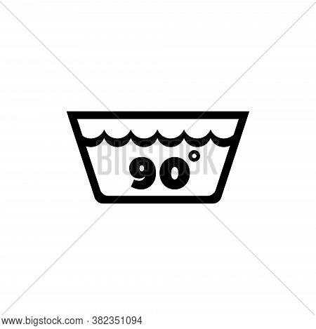 Wash Water Temperature, 90 Degrees Washing. Flat Vector Icon Illustration. Simple Black Symbol On Wh