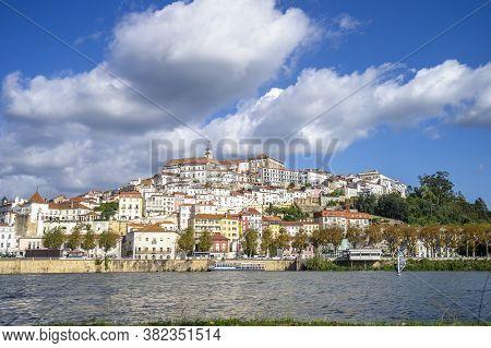 Coimbra Cityscape Seen From Mondego River,  Portugal