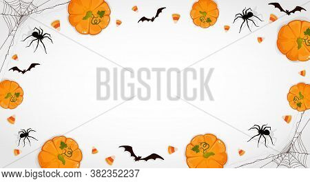 Pumpkins On White Halloween Background With Candies, Bats And Spiders. Card With Jack O' Lanterns. I