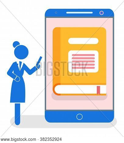 Isolated Businesswoman Using Phone. Electronic Library Concept. Smartphone With E-library App. Woman