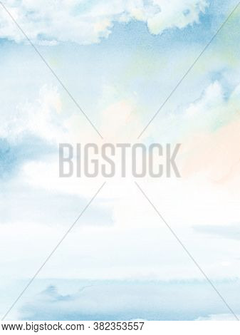 Blue Sky Cloudy And Sea Abstract Design With Watercolor Hand-painted For Nature Background. Stain Ar