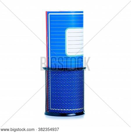 School Exercise Book In Stand On White Background Isolation