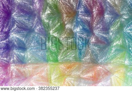 Abstract Illustration Of Blue, Green, Yellow And Red Wax Crayon With Low Coverage Background.