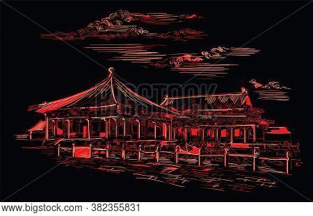 Forbidden City In Beijing, Landmark Of China. Hand Drawn Vector Sketch Illustration In Monochrome Co