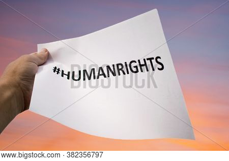 Violation Of Human Rights- Concept. Banner With The Message