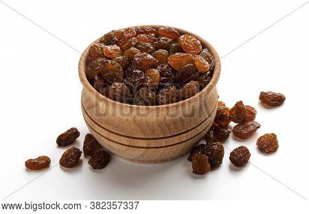 Top View Of Raisins Isolated On White Background