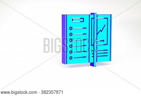 Turquoise Notebook Icon Isolated On White Background. Spiral Notepad Icon. Writing Pad. Diary For Bu