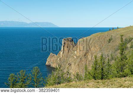 Cape Khoboy, Rocky Coast. Northern Tip Of Olkhon Island On Lake Baikal. Concept Of Travel.