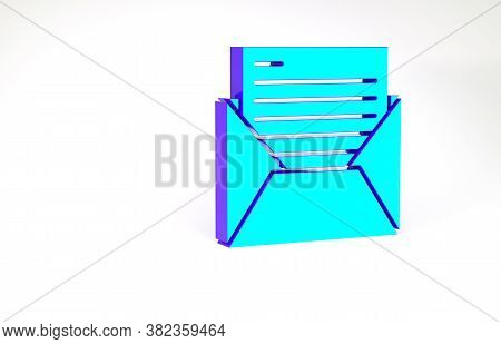 Turquoise Mail And E-mail Icon Isolated On White Background. Envelope Symbol E-mail. Email Message S