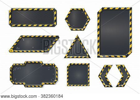 Metal User Interface Elements Set. Cyber Punk Style Banner Collection. Futuristic Frame Boards. Vide