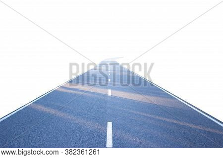 Abstract Black Asphalt Winding Road Transport Going To The Distance Separated Two Way Of Forward And