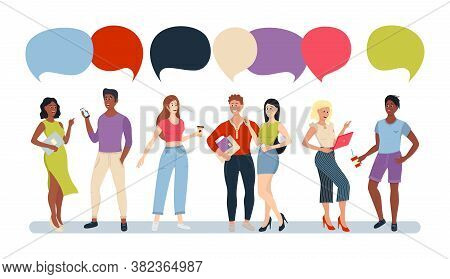 Casual People Group Chat Bubble Communication Social Network. Group Of Cartoon Flat People Talking W