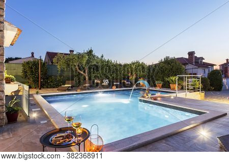 Holiday Home With Swimming Pool At Dusk