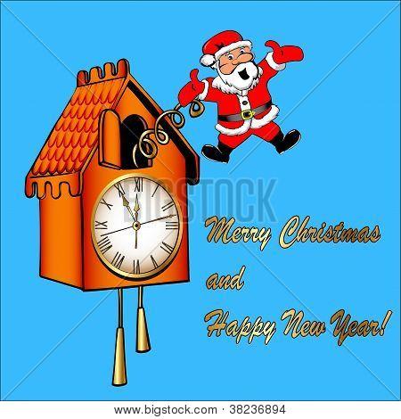 Santa Claus Congratulates From A Cuckoo Clock