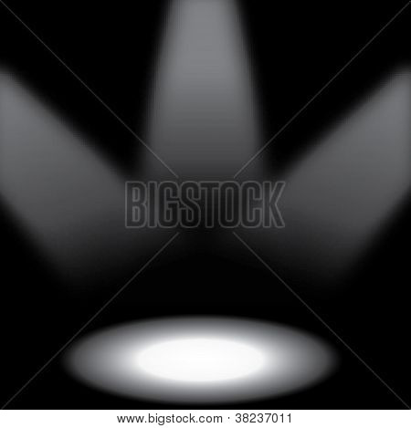 Stage Lights With Spotlight On Black, Eps10