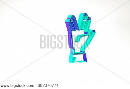 Turquoise Vulcan Salute Icon Isolated On White Background. Hand With Vulcan Greet. Spock Symbol. Min