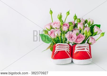 Red Baby Shoes With Rose Flowers Over Light Background