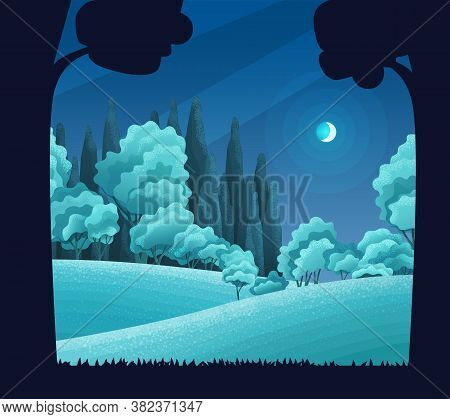 Night In Forest, Vector Cartoon Illustration. Hills And Tall Trees, Pine Forest On The Horizon, Lush