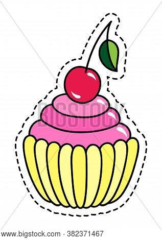 Cupcake Vector Illustration Isolated On White Background With Dashed Line, Cupcake Clip Art Sweet Ca