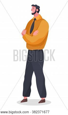Businessman Standing At Full Height Folded Arms Crossed Vector Illustration Isolated On White Backgr