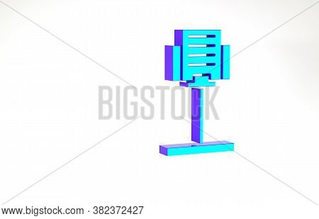 Turquoise Music Stand Icon Isolated On White Background. Musical Equipment. Minimalism Concept. 3d I
