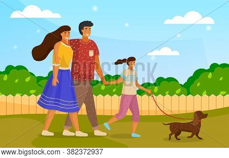 Happy Family Holding Each Other S Hand, Hugging, Walking Together Outdoor With Small Dog Along The R