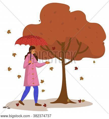 Autumn Cartoon Girl Holding An Umbrella, Standing Under Broun Big Tree, Isolated On White Background