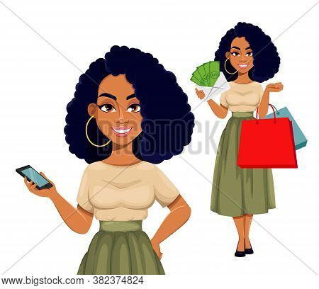 Beautiful African American Business Woman Having A Rest, Set Of Two Poses. Cute African-american Bus