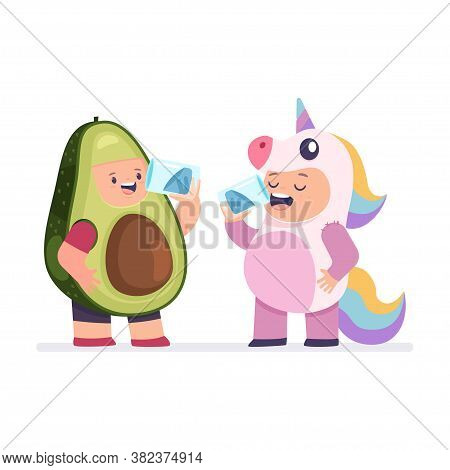 Girl In A Unicorn Costume And A Boy In Avocado Clothes Quench Thirst. Children Drink Water From Glas
