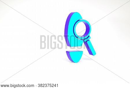 Turquoise Magnifying Glass With Footsteps Icon Isolated On White Background. Detective Is Investigat