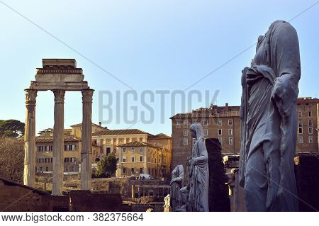 Roman Columns And Sculptures In Line At The Roman Forum