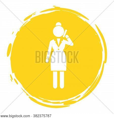 Vector Business Woman White Silhouette In Yellow Circle Frame. Female Talking On Phone. Lady With Ce