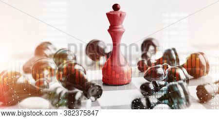 Business Victory Concept. Chess Queen Beats Black Pawns Taking Checkmate On White Background. Panora